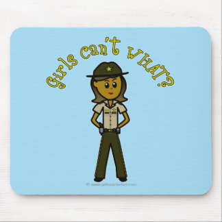 Dark Brown Sheriff Girl Mouse Pad