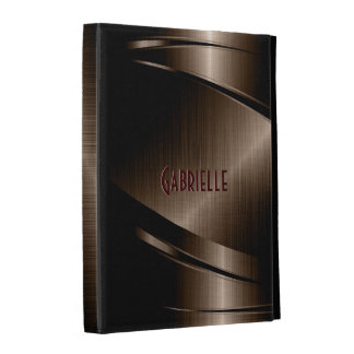 Dark Brown Shiny Metallic Brushed Aluminum Look iPad Folio Case