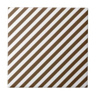 Dark Brown Solid Color & White Stripes Small Square Tile