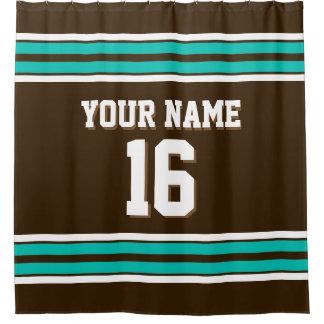 Dark Brown Teal White Stripes Sports Jersey Shower Curtain
