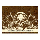 Dark Brown Tooled Leather RSVP Post Cards
