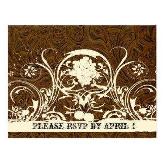 Dark Brown Tooled Leather RSVP Postcard