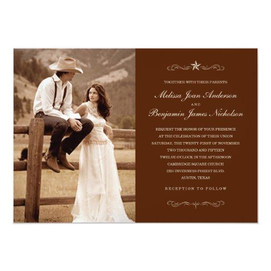 Dark Brown Western Photo Wedding Invitations