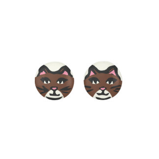 DARK BROWN & WHITE CAT, Pink Ears & Black Whiskers Earrings