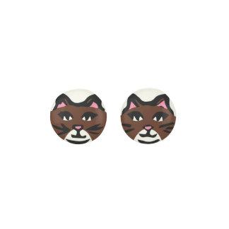 DARK BROWN & WHITE CAT, Pink Ears & Black Whiskers Earrings
