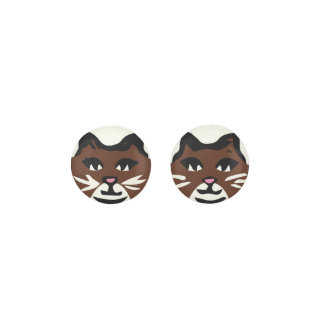 DARK BROWN & WHITE CAT With White Whiskers Earrings