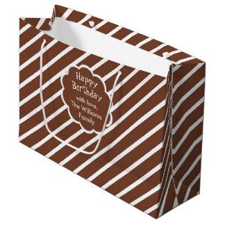 Dark Brown & White Diagonal Stripes Gift Bag Large Gift Bag