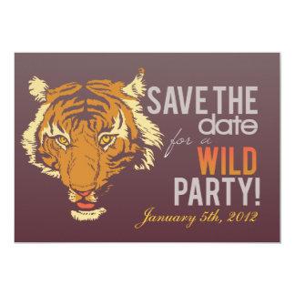 """Dark Brown Wild Party 5"""" X 7"""" Invitation Card"""