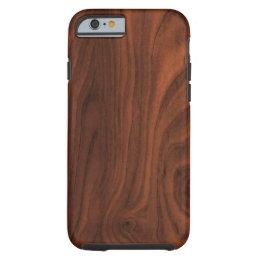 Dark Brown Wood Look Tough iPhone 6 Case