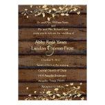 Dark Brown Wood Look Wedding Invitation