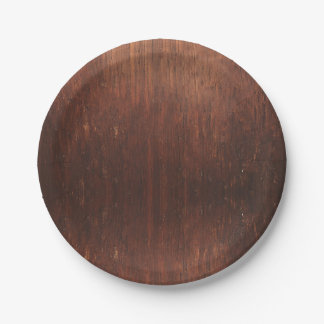 Dark Brown Wood Paper Plate