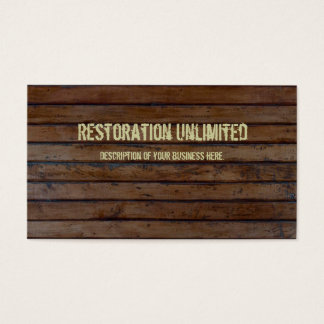 Dark Brown Wood Plank Business Card