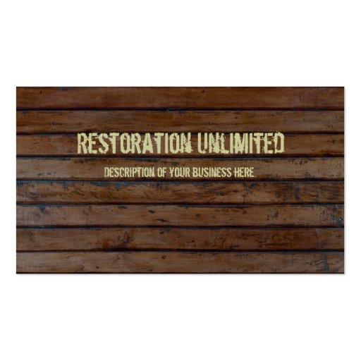 Dark Brown Wood Plank Business Card