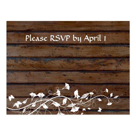 Dark Brown Wood RSVP Postcard