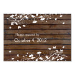Dark Brown Wood RSVP with envelope Personalized Invitations