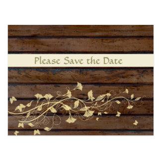 Dark Brown Wood Save the Date Postcard