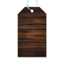 Dark Brown Wood Texture Pattern Gift Tags