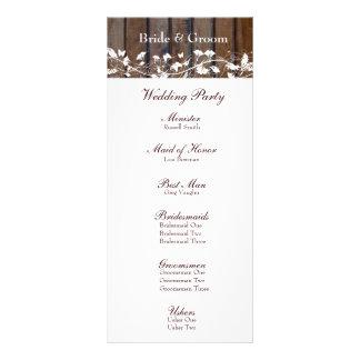 Dark Brown Wood, White Floral Wedding Program