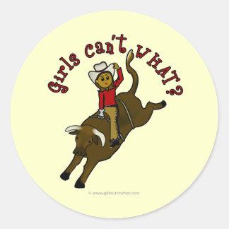Dark Bull Rider Round Sticker