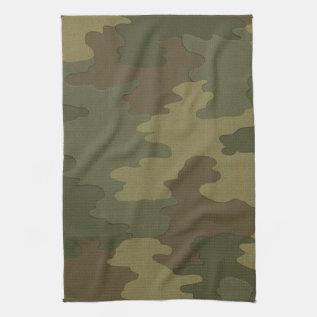 Dark Camouflage Kitchen Towel at Zazzle