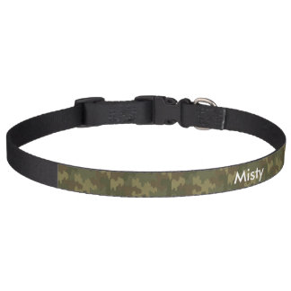 Dark Camouflage Personalized Dog Collar
