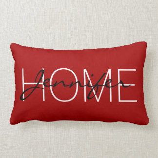 Dark candy apple red color home monogram lumbar pillow