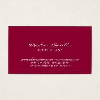Dark Carmine Minimalist Script Business Card