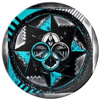 Dark Center Mandala Porcelain Plates