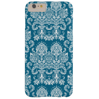 Dark Cerulean Victorian Damask Barely There iPhone 6 Plus Case