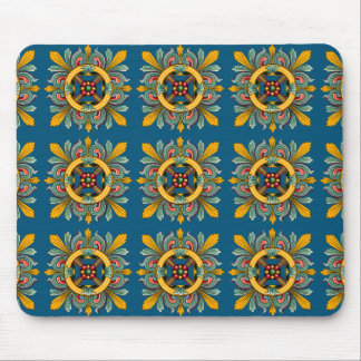 Dark Cerulean Victorian Tile Design Mouse Pad