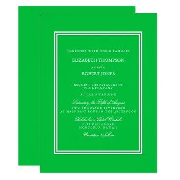 Beach Themed Dark Chalky Pastel Green Wedding Invitation Set
