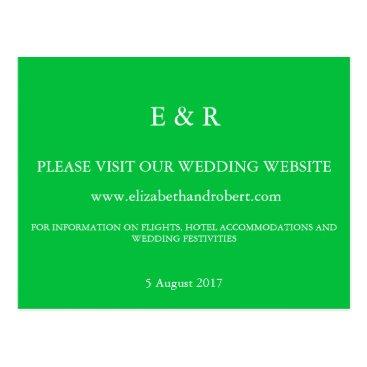 Beach Themed Dark Chalky Pastel Green Wedding Invitation Set Postcard