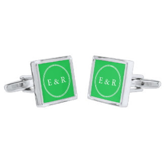 Dark Chalky Pastel Green Wedding Party Set Cufflinks