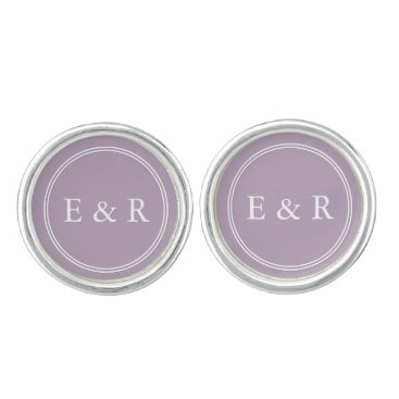 Valentines Themed Dark Chalky Pastel Purple Wedding Party Gifts Cufflinks