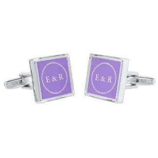Dark Chalky Pastel Purple Wedding Party Set Silver Cufflinks