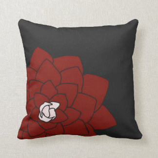 Dark Charcoal Throw Pillow with Red Flower