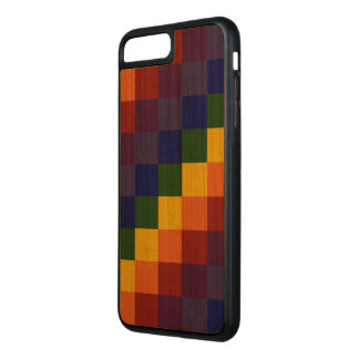 Dark Checkered Rainbow on Natural Wood Carved iPhone 7 Plus Case