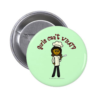 Dark Chef Girl Pinback Button
