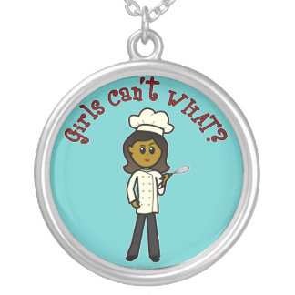 Dark Chef Girl Silver Plated Necklace