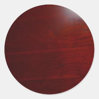 Dark cherrie wood look classic round sticker