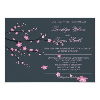Dark Cherry Blossom Wedding Invitations