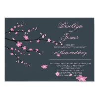 Dark Cherry Blossom Wedding Invites