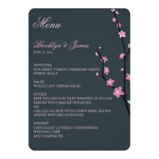 Dark Cherry Blossom Wedding Menu Card