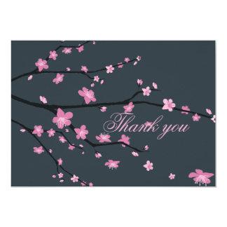 Dark Cherry Blossom Wedding Thank You Cards