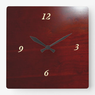 Dark cherry wood look square wallclocks
