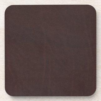 Dark Chestnut Brown Faux Leather Coaster