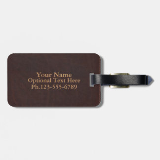 Dark Chestnut Brown Faux Leather Tag For Luggage