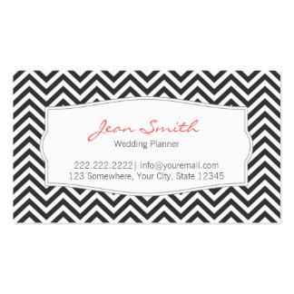 Dark Chevron Stripes Wedding Planner Business Card