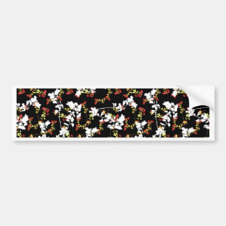 Dark Chinoiserie Floral Collage Pattern Bumper Sticker