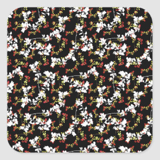Dark Chinoiserie Floral Collage Pattern Square Sticker